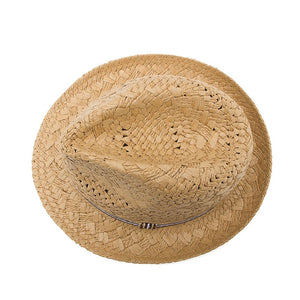 Khaki Kids Straw Beach Hat - top view