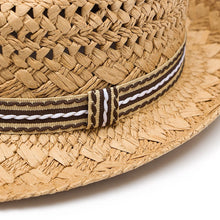 Kids Straw Beach Hat - Khaki - closeup detail