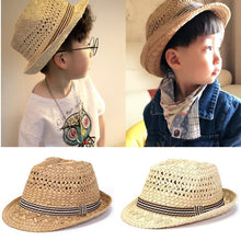 Kids wearing Straw Beach Hat - Khaki and Beige