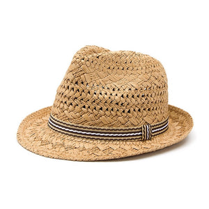 Kids Straw Beach Hat - Khaki
