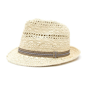 Kids Straw Beach Hat - Beige
