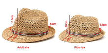 Kids Straw Beach Hat - Adult and Kids Dimensions