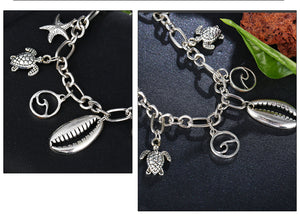 Metallic Wave Shell Anklet