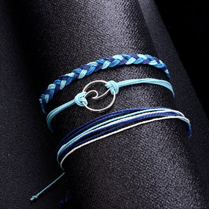 Blue 3-piece Wave Bracelet - black background