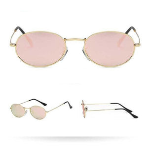 Women's Harrier Oval Vintage Metal Frame Glasses - Gold Frame Pink Lens