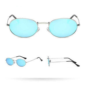 Women's Harrier Oval Vintage Metal Frame Glasses -Silver Frame Blue Lens