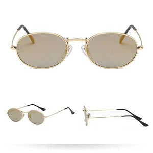Women's Harrier Oval Vintage Metal Frame Glasses - Gold Frame Gold Lens