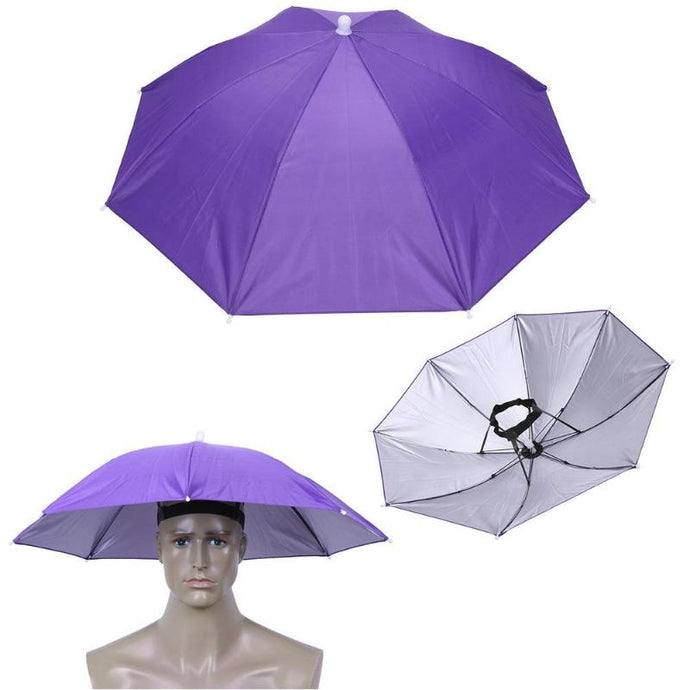 Foldable Umbrella Hat-purple