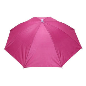 Foldable Umbrella Hat-Rose Red