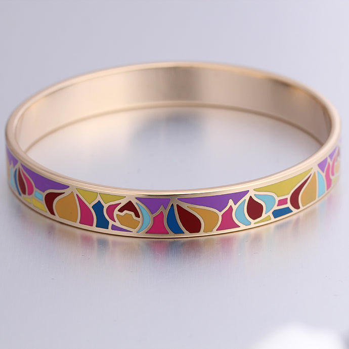 Women's Stainless Steel Enamel Bangles - Multicolor