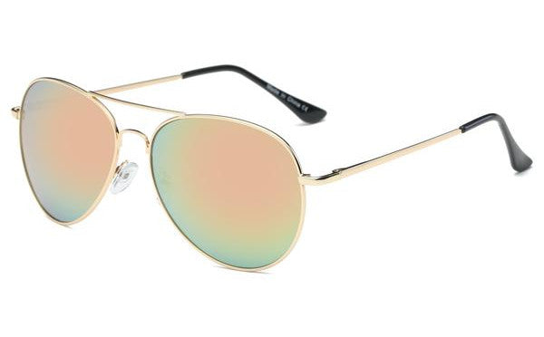 Unisex Mirra Metal Mirrored Aviator Sunglasses - Peach