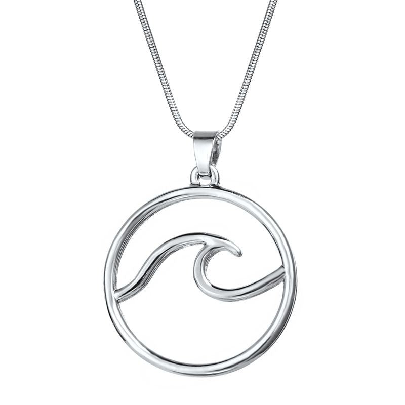 Bohemian Wave Pendant Necklace - Silver