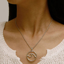 Lady wearing Bohemian Wave Pendant Necklace - Silver
