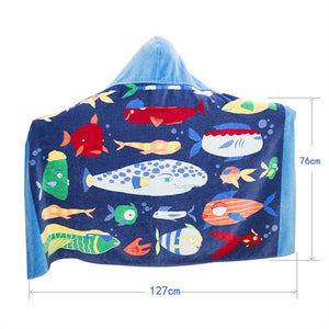 Boys Hooded Undersea Fish Beach Towel - Measurements