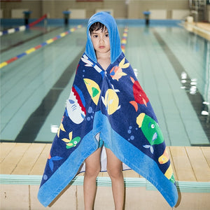 Boys wrapped in Hooded Undersea Fish Beach Towel