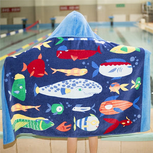 Boys showing Hooded Undersea Fish Beach Towel