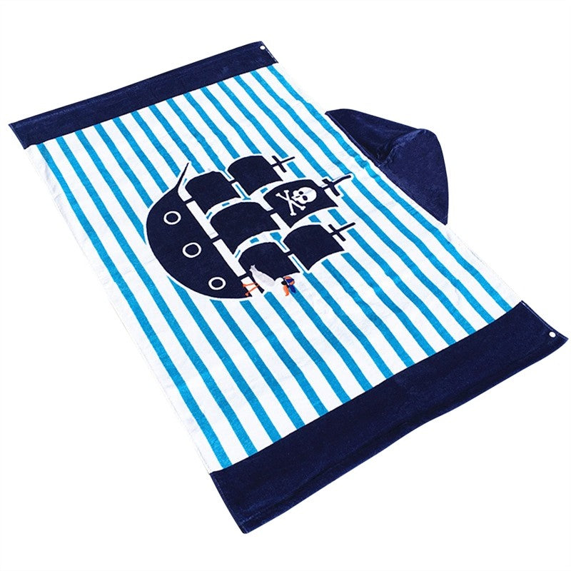 Boys Hooded Pirate Ship Beach Towel