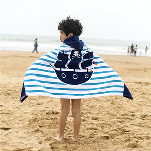 Boys on beach with Hooded Pirate Ship Beach Towel