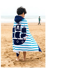 Boys on beach wrapped in Hooded Pirate Ship Beach Towel