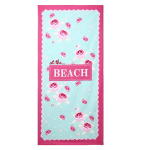 Tulips printed rectangular microfiber beach towel