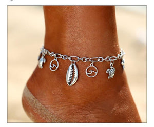 Metallic Wave Shell Anklet Beach Jewelry