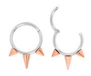 1 Pair Stainless Steel Two Tone Spike Sleeper Earrings | Body Jewellery | PFG Wholesale