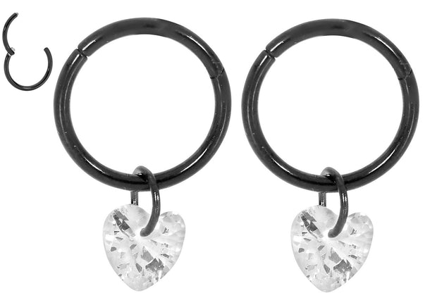 1 Pair Stainless Steel Dangle Gem Heart Sleeper Earrings | Body Jewellery | PFG Wholesale