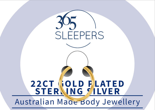 365 Sleepers 1 Piece Gold Plated Sterling Silver Earring / Body Piercing Ring - 18G | Body Jewellery | PFG Wholesale