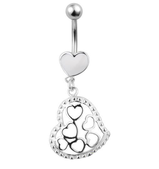316L Surgical Steel Love Heart Belly Bar Navel Ring | Body Jewellery | PFG Wholesale