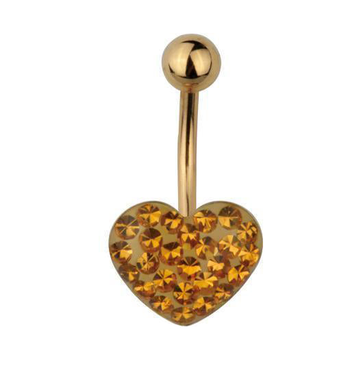 Steel Gold Heart Belly Bar with Gold Gems | Body Jewellery | PFG Wholesale