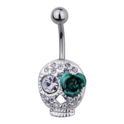 Steel Gem Encrusted Skull Belly Bar with Rose Eye | Body Jewellery | PFG Wholesale