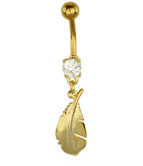 Steel Gold Feather Belly Bar with Gem | Body Jewellery | PFG Wholesale