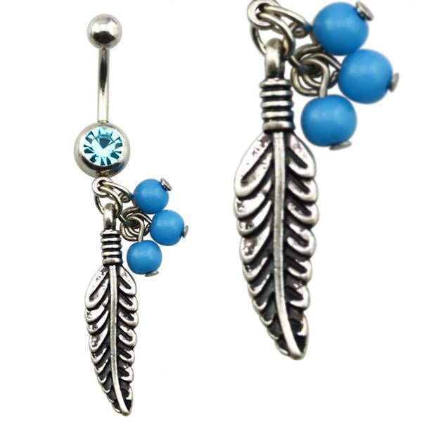 316L Surgical Steel Blue Gem Feather Belly Bar Navel Ring - PFGWholesale
