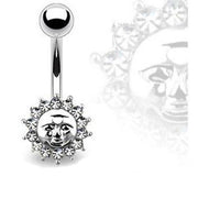 316L Surgical Steel Sun Face Belly Bar Navel Ring | Body Jewellery | PFG Wholesale