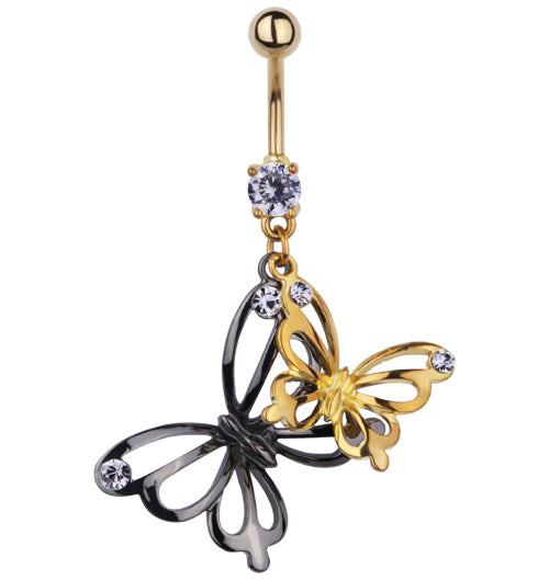 Steel Black & Gold Butterfly's Belly Bar with Gems | Body Jewellery | PFG Wholesale