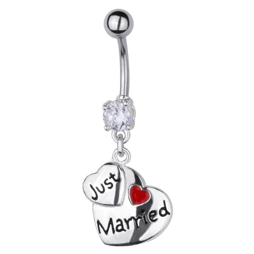 316L Surgical Steel JUST MARRIED Belly Bar Navel Ring - PFGWholesale