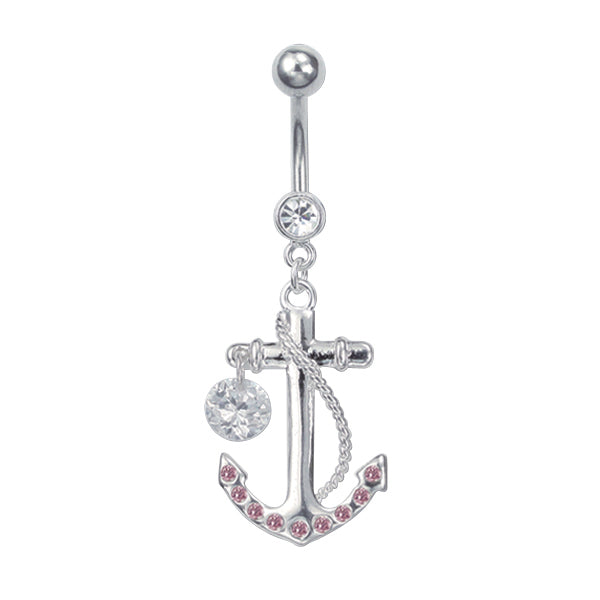 Steel Anchor Belly Bar with Gems | Body Jewellery | PFG Wholesale