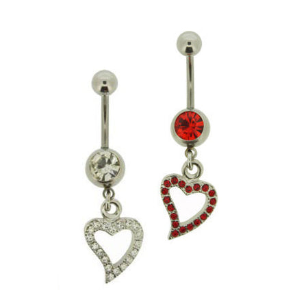 Steel Gem Encrusted Heart Belly Bar | Body Jewellery | PFG Wholesale