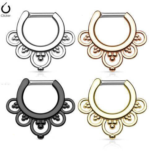 1 Piece Stainless Steel Hinged Septum Clicker Nose Ring | Body Jewellery | PFG Wholesale