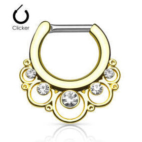 1 Piece Stainless Steel Gem Septum Segment Clicker Nose Ring - PFGWholesale