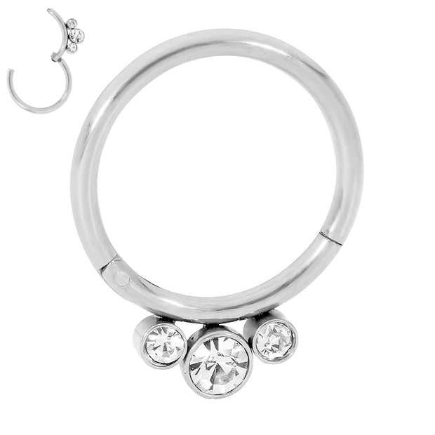 365 Sleepers 1 Piece Stainless Steel 3 Gem Hinged Segment Ring - 16G | Body Jewellery | PFG Wholesale