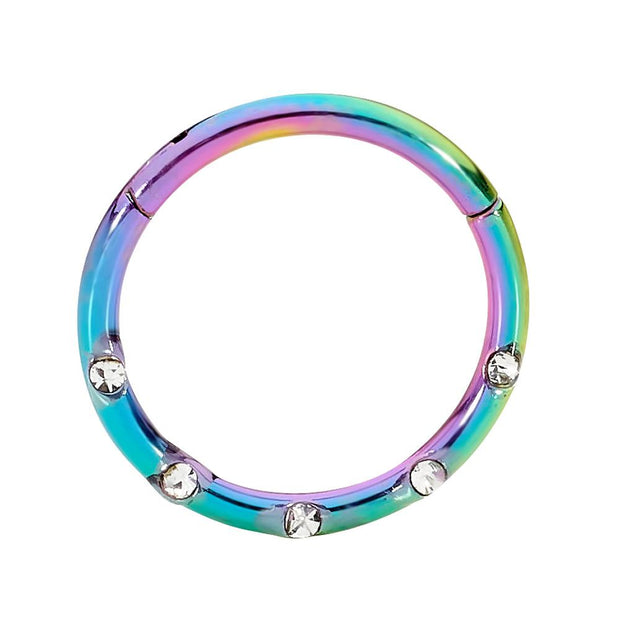 365 Sleepers 1 Piece Stainless Steel Gem Hinged Segment Ring - 16G | Body Jewellery | PFG Wholesale