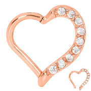 1 Piece Stainless Steel Gem Heart Segment Ring - 16G - Sold Individually - PFGWholesale