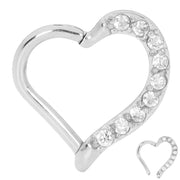 1 Piece Stainless Steel Gem Heart Segment Ring - 16G - Sold Individually | Body Jewellery | PFG Wholesale