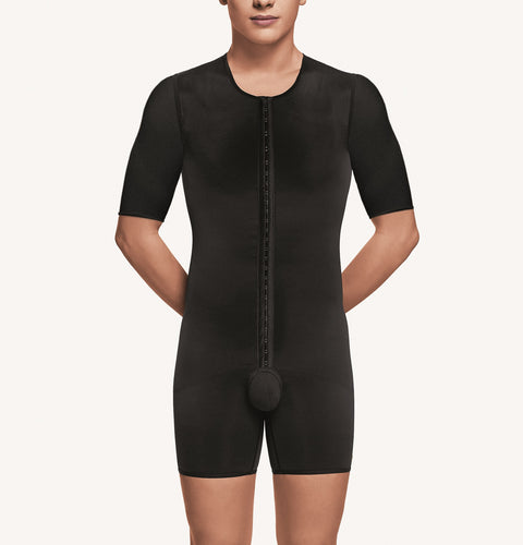 Male above the knee body shaper with short sleeves