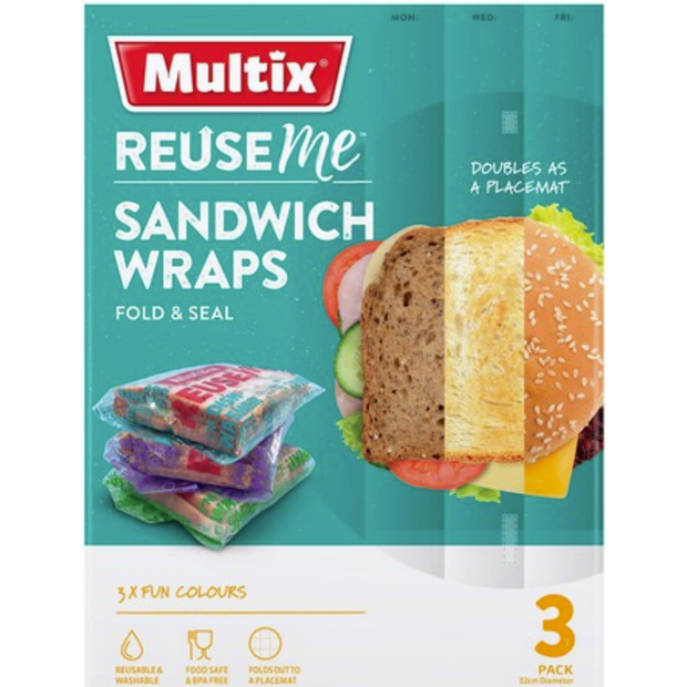 Multix Reuse Me Sandwich Wraps (3pk)