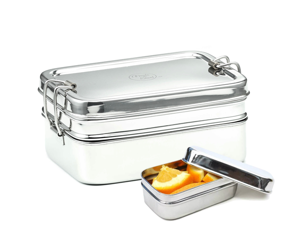 Meals in Steel Medium Double Layer Rectangular Lunchbox with Snackbox