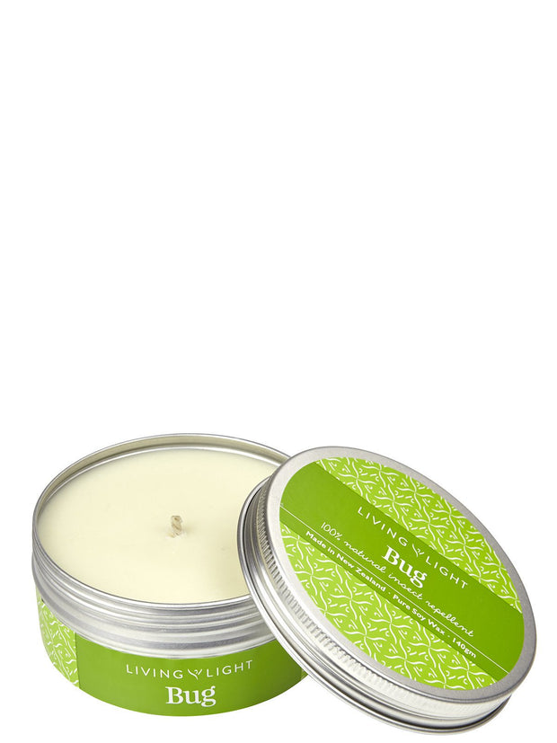 Living Light Bug Repellent Soy Candle Travel Tin (80g)