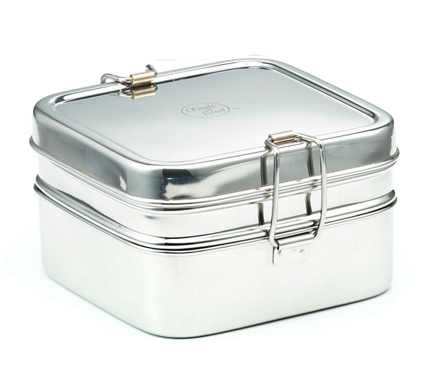 Meals in Steel Double Layer Square Lunchbox