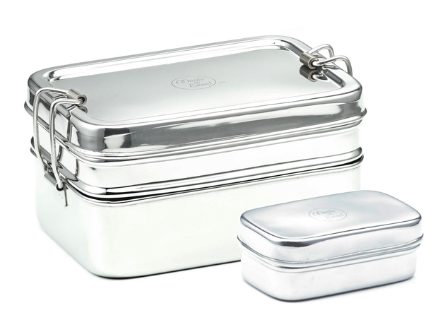 Meals in Steel Large Jumbo Twin Layer Rectangular Lunchbox with Snackbox
